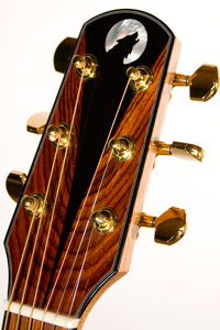 Headstock Inlay - White MOP Moon, Ebony Wolf, Ebony and Cocobolo Veneer.