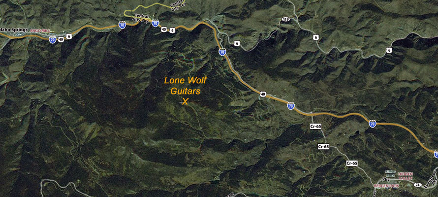 Areal map of Lone Wolf Guitars.